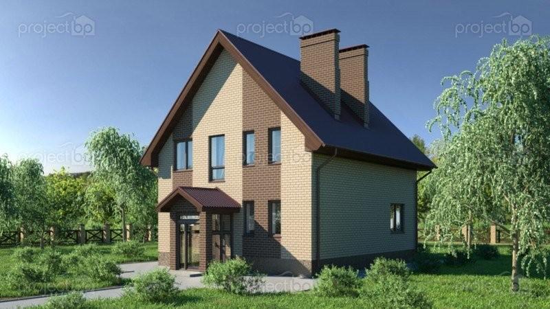 Проект маленького дома из блоков с мансардой 134-A