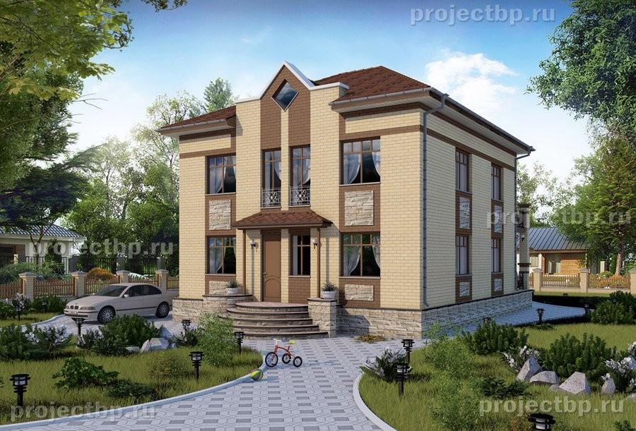 Проект двухэтажного дома с террасой и балконом 160-B